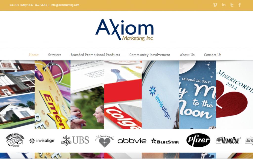 Axiom's website uses a menu bar with dropdowns.